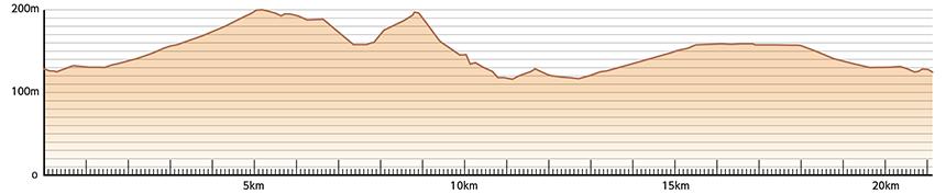 ハーフマラソンコース高低図