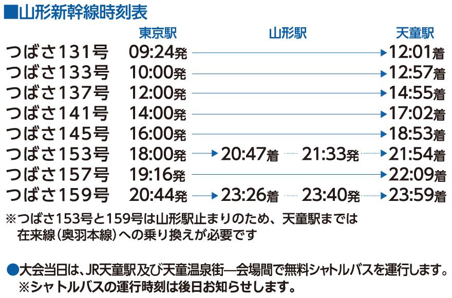 山形新幹線時刻表